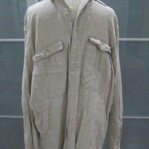 Long Sleeve Linen Shirt Over Sized Pockets